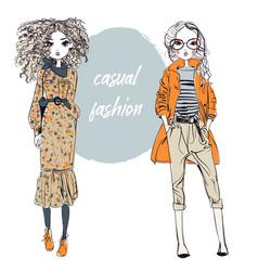 cute cartoon hipster girls vector image