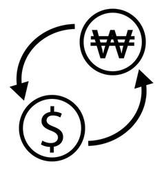dollar korean won exchange icon exchange money on vector image vector image