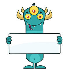 funny horned blue monster cartoon character vector image