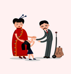 Happy chinese family vector