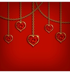 Hearts from ribbon Valentines day background vector image vector image