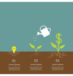 Idea bulb seed watering can dollar plant infograph vector