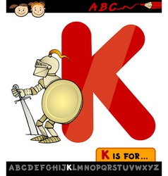 letter k for knight cartoon vector image vector image