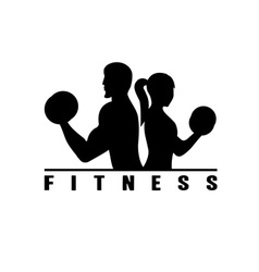 man and woman of fitness silhouette character vector image