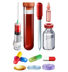 Medical set with syringe and medicine vector image vector image