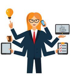multitasking businesswoman cartoon flat vector image