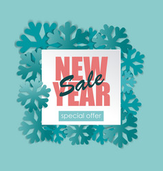 New year sale banner with blue snowflakes vector