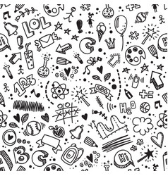 Seamless hand drawn doodle pattern back to school vector