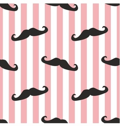 Seamless mustache and pink stripes background vector image vector image