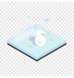 snowman and winter landscape isometric icon vector image