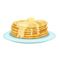 stack of pancakes on light blue plate isolated vector image