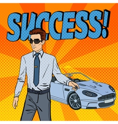 Successful Businessman Man Holding a Car Key vector image vector image