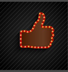 The thumbs background symbol glowing with bulbs vector
