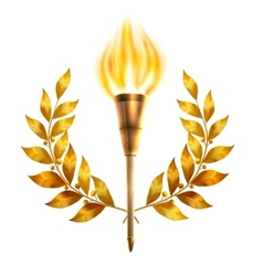 Torch and laurel wreath vector