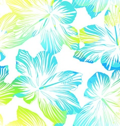 Tropical flowers white seamless pattern with vector image