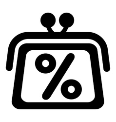 Wallet with percentage icon simple style vector