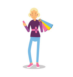 young smiling fashionable blond girl standing with vector image