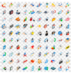 100 research icons set isometric 3d style vector