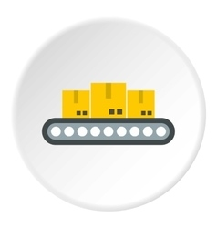 Belt conveyor with load icon flat style vector