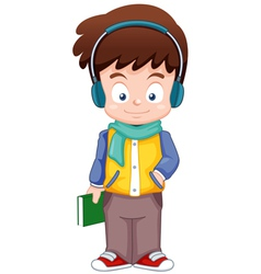 Cartoon boy listen music vector