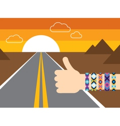Hand with hippy friendship bracelets hitchhiking vector