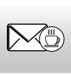 Email cup coffee breakfast icon vector