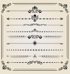 Vintage set of ector horizontal elements vector