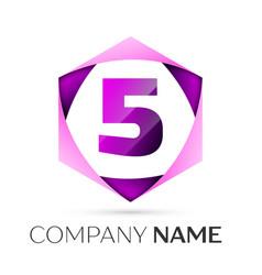 number five symbol in colorful hexagonal vector image