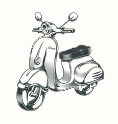 Scooter moped drawn in black ink vector