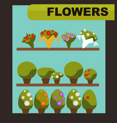Flowers shop with green indoor plants and charming vector
