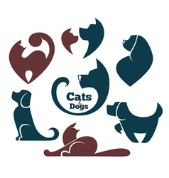 Cats and dog vector