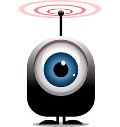 big eye cartoon character transmitting radio waves vector image