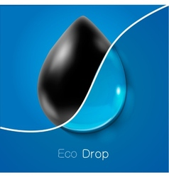 Drop of petroleum and clear water ecology concept vector