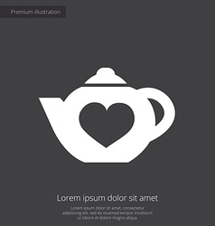 Teapot premium icon white on dark background vector