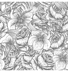 Seamless monochrome floral pattern with roses vector