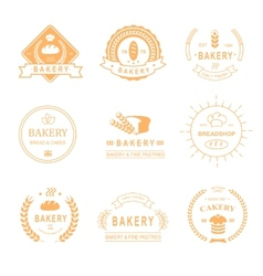 Set of bakery and bread shop logos labels badges vector