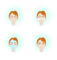 4 pictures beauty care procedures vector