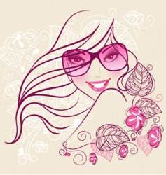 Women in sunglasses floral vector