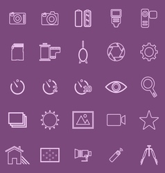 Camera line icons on violet background vector