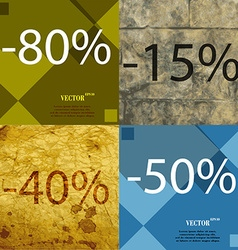 15 40 50 icon set of percent discount on abstract vector