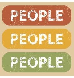 Vintage PEOPLE stamp set vector image