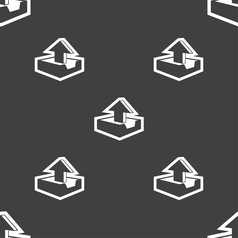 Upload icon sign seamless pattern on a gray vector