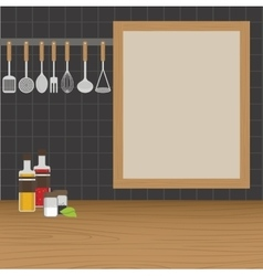 Kitchen utensils weighs on a wall in the kitchen vector