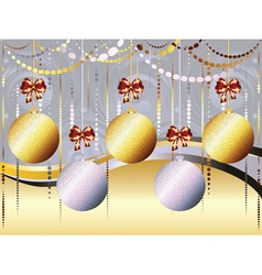 Gold and white xmas balls vector