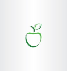 Stylized green apple with leaf logo icon element vector