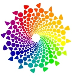Color wheel with circles and triangles vector