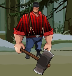 Cartoon burly lumberjack with an ax in the forest vector