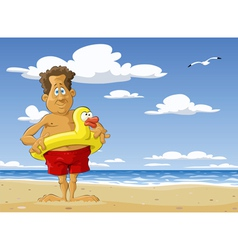 man on the beach vector image