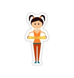 Paper sticker on white background girl in gym vector