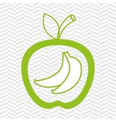 Apple fruit with bananas isolated icon design vector